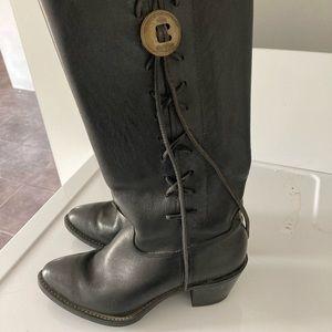 Vintage Harley Davidson lace up black boots